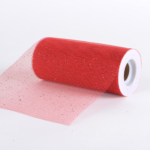 Red - Glitter Net Fabrics - ( W: 6 Inch | L: 10 Yards )
