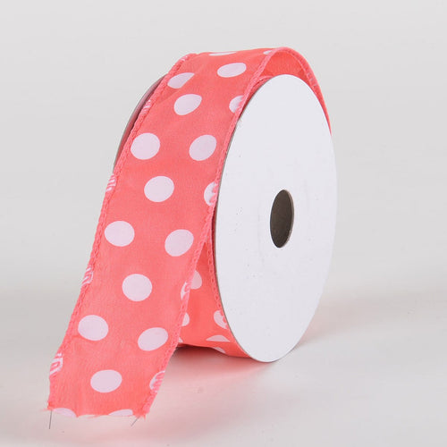 Satin Polka Dot Ribbon Wired Coral with White Dots ( W: 1-1/2 inch | L: 10 Yards )