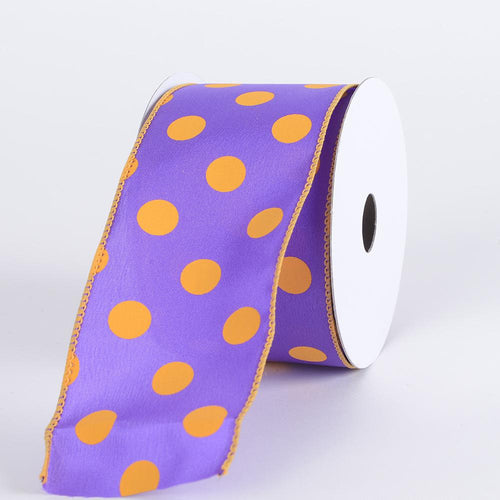 Satin Polka Dot Ribbon Wired Purple with Lt.Gold Dots ( W: 2-1/2 inch | L: 10 Yards )
