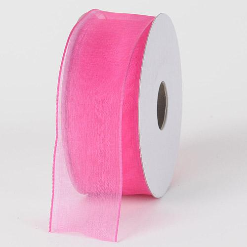 Hot Pink - Organza Ribbon Thin Wire Edge 25 Yards - ( 1-1/2 inch | 25 Yards )
