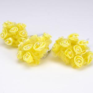 Yellow - Satin Rose Buds - ( 12 Mini Buds )