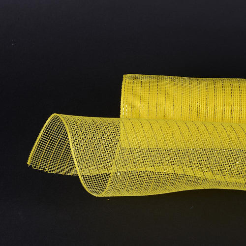 Yellow  - Deco Mesh Wrap Metallic Stripes -  ( 21 Inch x 10 Yards )
