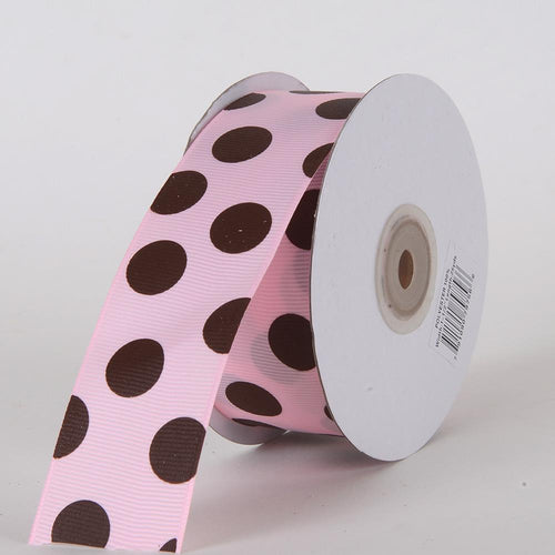 Grosgrain Ribbon Jumbo Dots Pink with Chocolate Dots ( W: 1-1/2 inch | L: 25 Yards )