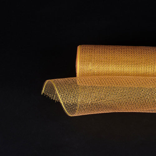 Brown - Laser Metallic Floral Deco Mesh Wrap - ( 21 Inch x 10 Yards )
