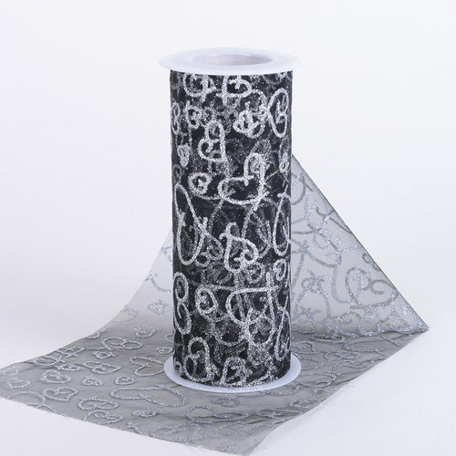 Black - 6 Inch Glitter Hearts Organza Roll - ( W: 6 Inch | L: 10 Yards )
