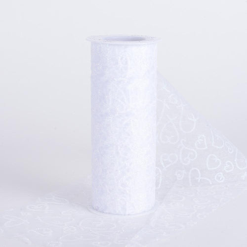 White - 6 Inch Glitter Hearts Organza Roll - ( W: 6 Inch | L: 10 Yards )