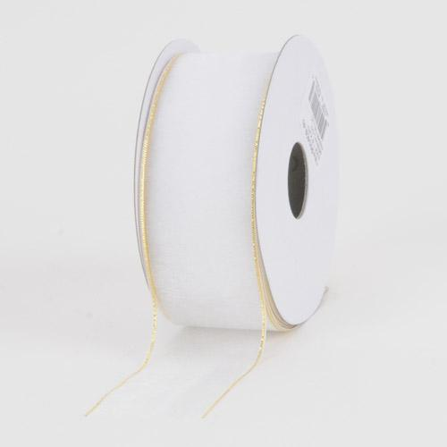 Sheer Organza Ribbon White With Gold Edge ( 7/8 inch | 25 Yards )