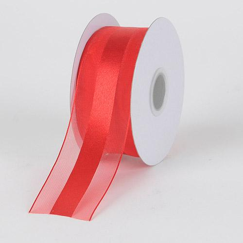 Red - Organza Ribbon Satin Center - ( 1-1/2 inch | 25 Yards )