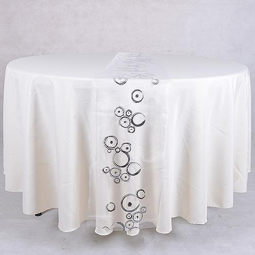 Organza Table Runners White Silver ( 14 inch x 108 inches )