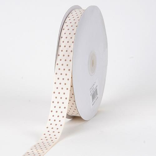 Grosgrain Ribbon Swiss Dot Ivory with Mocha Dots ( 5/8 inch | 50 Yards )