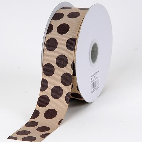Grosgrain Ribbon Jumbo Dots Coffee With Brown Dots ( W: 1-1/2 inch | L: 25 Yards )