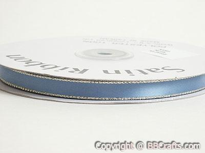 Satin Ribbon Lurex Edge Antique Blue with Gold Edge ( W: 3/8 inch | L: 50 Yards )