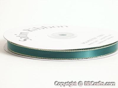 Satin Ribbon Lurex Edge Hunter Green with Gold Edge ( W: 3/8 inch | L: 50 Yards )