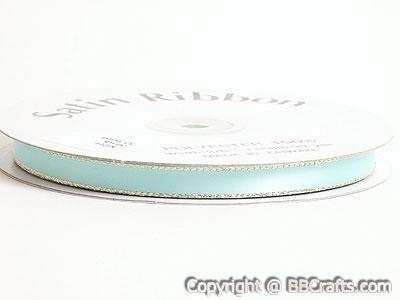 Satin Ribbon Lurex Edge Aqua Blue with Gold Edge ( 3/8 inch | 50 Yards )