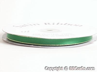 Satin Ribbon Lurex Edge Emerald with Gold Edge ( 1/4 inch | 50 Yards )