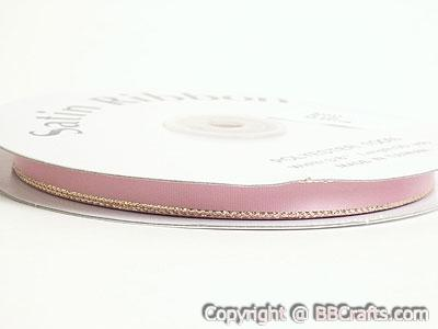Satin Ribbon Lurex Edge Mauve with Gold Edge ( W: 3/8 inch | L: 50 Yards )