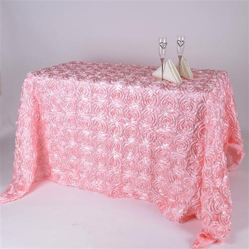 Pink 90 Inch x 132 Inch Rosette Tablecloths