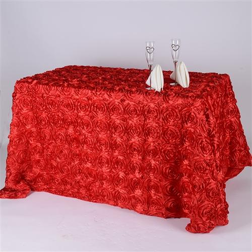 Red 90 Inch x 156  Inch Rectangle Rosette Tablecloths
