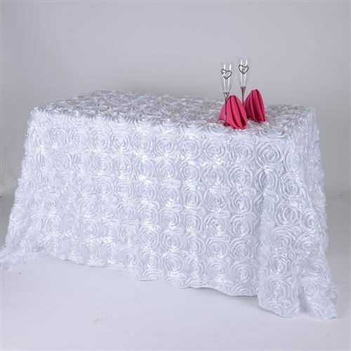 White 90 Inch x 156  Inch Rectangle Rosette Tablecloths