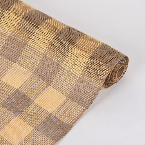 Gold  - Faux Burlap Plaid Mesh -  ( 21 inch x 5 Yards )