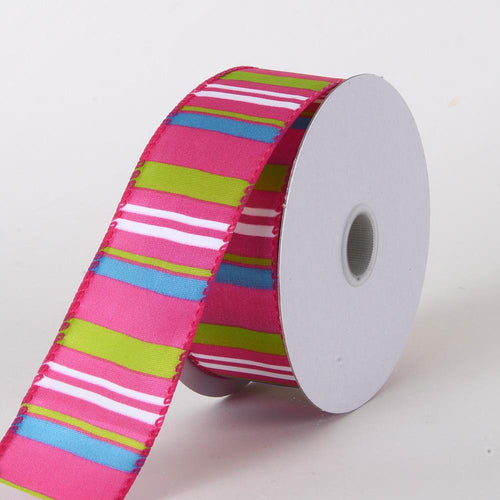 Multi Striped Satin Ribbon Fuchsia ( W: 1-1/2 inch | L: 10 Yards )