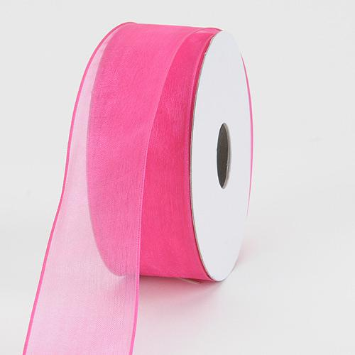 Fuchsia - Organza Ribbon Thin Wire Edge 25 Yards - ( W: 5/8 inch | L: 25 Yards )