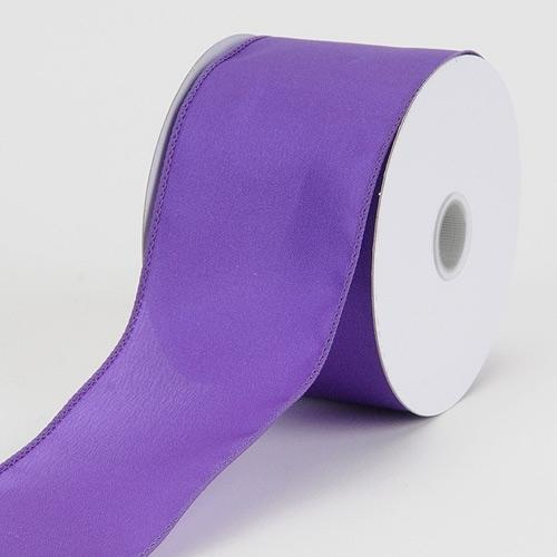 1-1/2 inch x 10 Yards Purple Satin Ribbon Thick Wired Edge