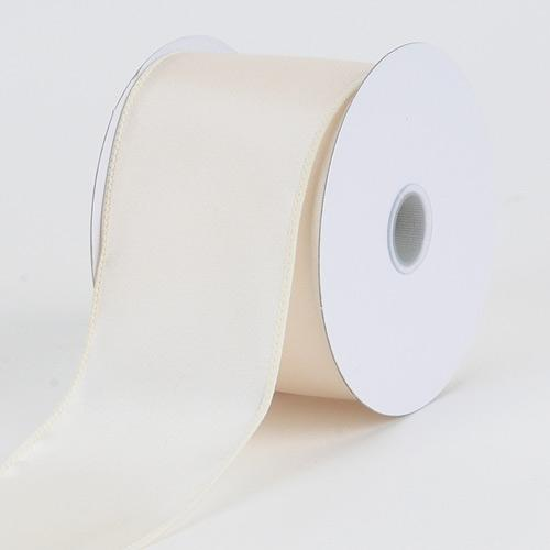 2-1/2 x 10 Yd Ivory Satin Ribbon Thick Wired Edge
