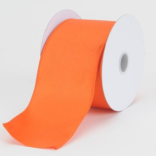 2-1/2 x 10 Yd Orange Satin Ribbon Thick Wired Edge