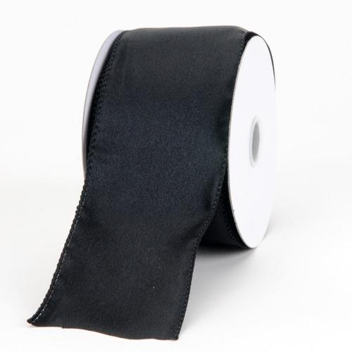 1-1/2 inch x 10 Yards Black Satin Ribbon Thick Wired Edge