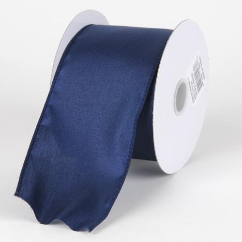 2-1/2 x 10 Yd Navy Blue Satin Ribbon Thick Wired Edge