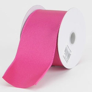 1-1/2 inch x 10 Yards Fuchsia Satin Ribbon Thick Wired Edge