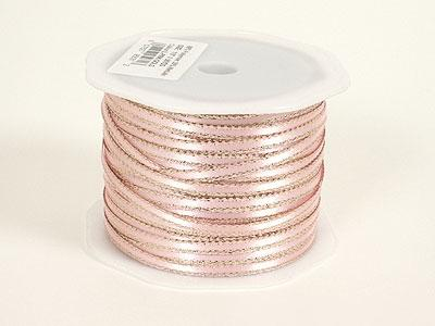 Light Pink - Satin Ribbon with Gold Edge 1/8 Inch - ( W: 1/8 inch | L: 100 Yards )