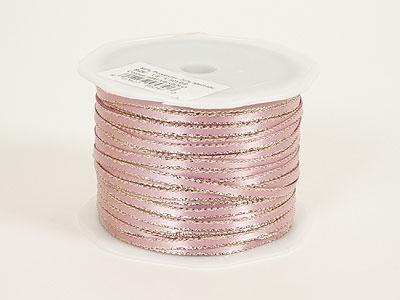 Mauve with Gold Edge - Satin Ribbon with Gold Edge 1/8 Inch  - ( W: 1/8 inch | L: 100 Yards )