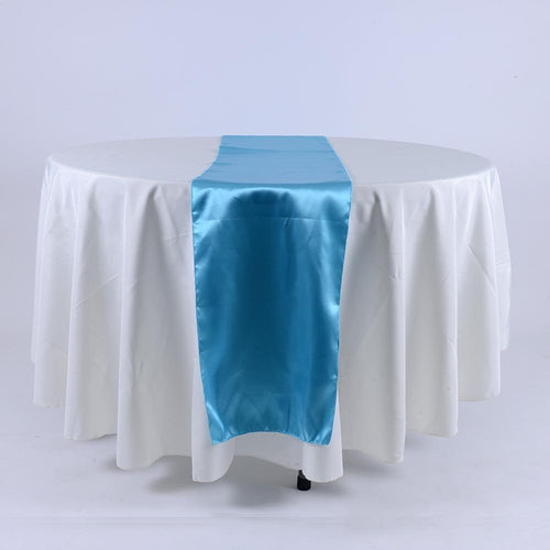 Turquoise - Satin Table Runner - ( 14 inch x 108 inches )