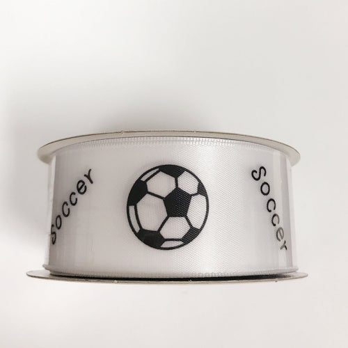 Soccer - Satin Ribbon Sports Design - ( W: 1-1/2 Inch | L: 10 Yards ) - 98050903