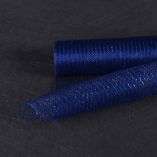 Navy Blue  - Deco Mesh Wrap Metallic Stripes -  ( 21 Inch x 10 Yards )