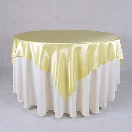Baby Maize - 60 x 60 Satin Table Overlays - ( 60 x 60 Inch )