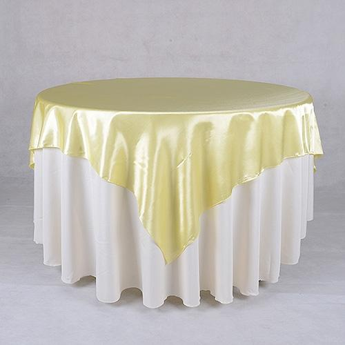 Baby Maize - 90 x 90 Satin Table Overlays - ( 90 Inch x 90 Inch )
