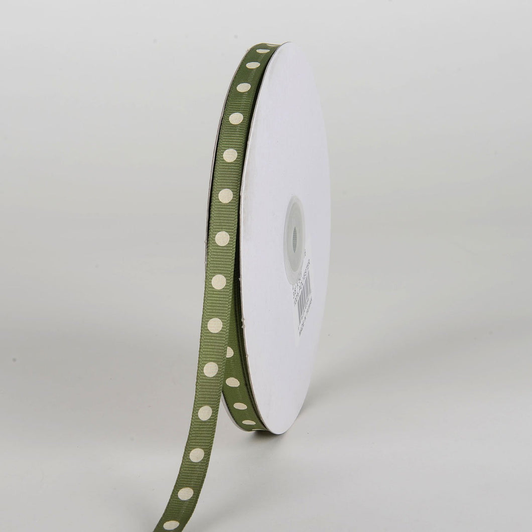 Grosgrain Ribbon Polka Dot Old Willow with Ivory Dots ( W: 3/8 inch | L: 50 Yards )