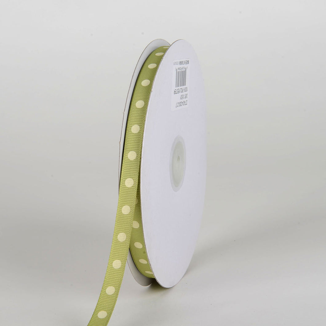 Grosgrain Ribbon Polka Dot Pear with Ivory Dots ( W: 3/8 inch | L: 50 Yards )