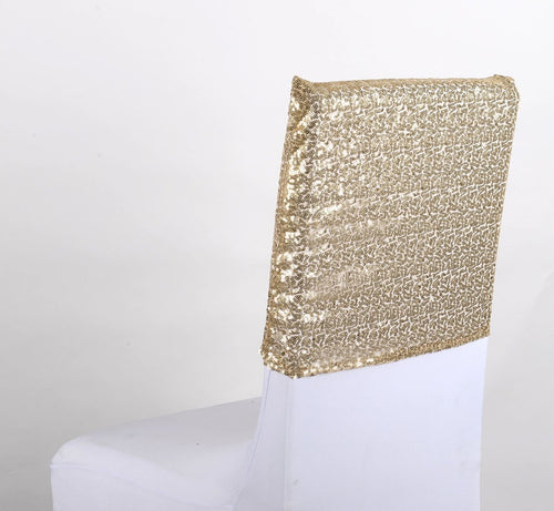 Champagne Duchess Sequin Chair Top Covers