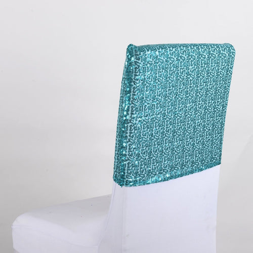 Turquoise Duchess Sequin Chair Top Covers