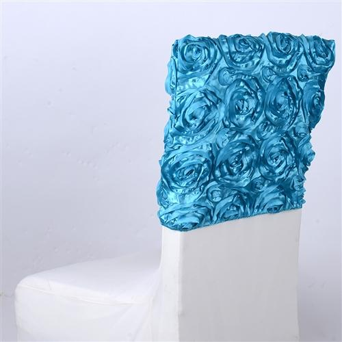 Turquoise 16 Inch x 14 Inch Rosette Satin Chair Top Covers