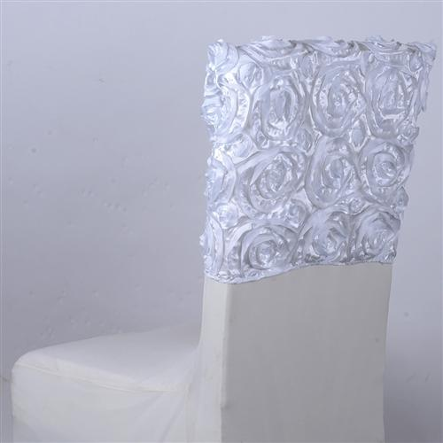 White 16 Inch x 14 Inch Rosette Satin Chair Top Covers