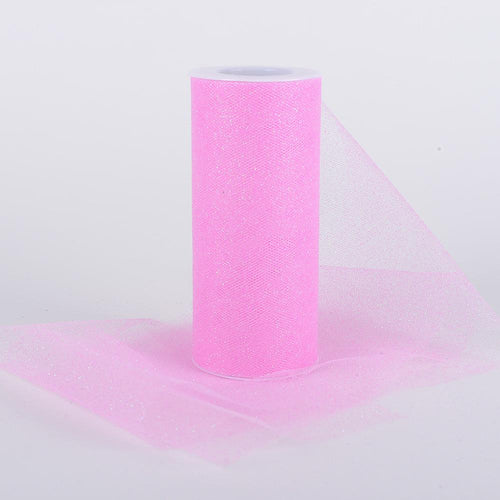 Pink Premium Glitter Tulle Fabric ( W: 6 Inch | L: 10 Yards )
