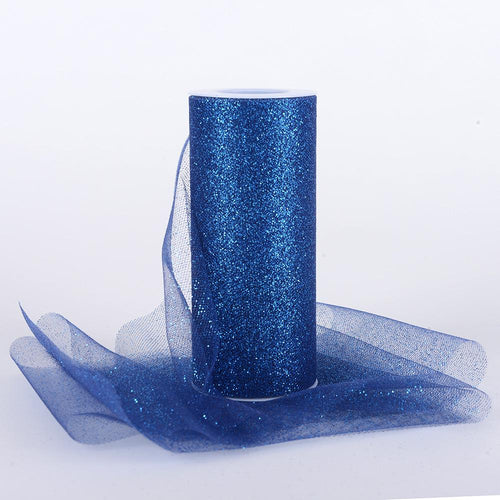 Navy Blue Premium Glitter Tulle Fabric ( W: 6 Inch | L: 10 Yards )