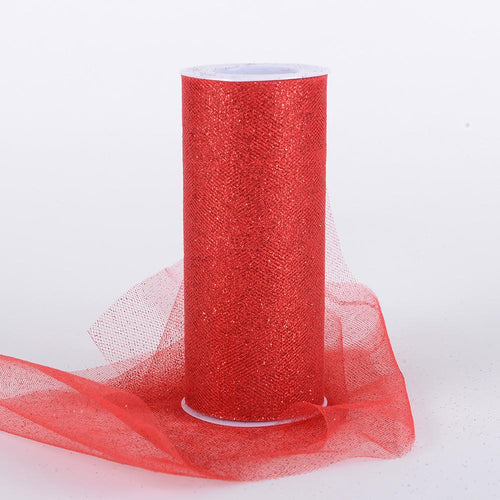 Red Premium Glitter Tulle Fabric ( W: 6 Inch | L: 10 Yards )