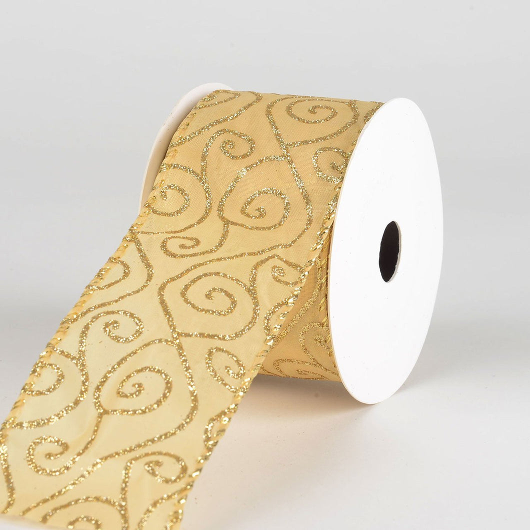 Christmas Gold Organza Ribbon - (2.5 inch x 10 yards) - 934138GO