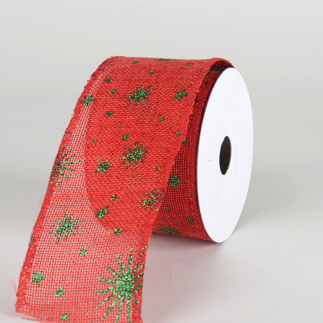 Red Faux Burlap Christmas Ribbon - (2.5 inch x 10 yards) - 960365RE